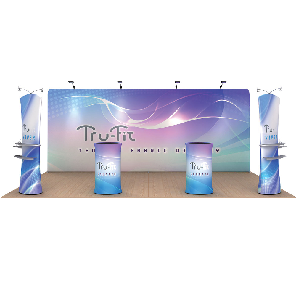 20ft Straight Portable Fabric Tension Exhibition Display System With Graphic #01