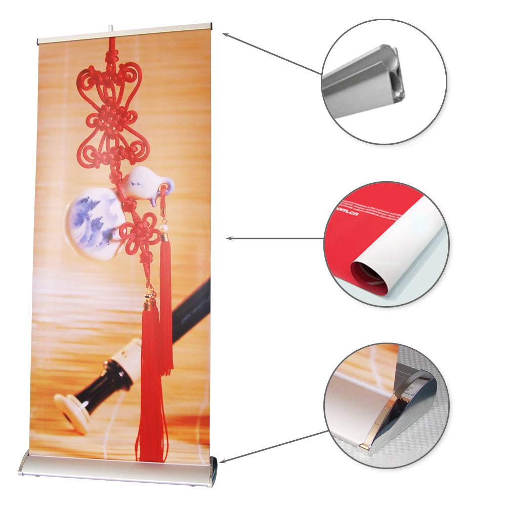"33"" W x 79"" H Silver Cap Broad Base Roll Up Banner Stand (Graphic Include)"