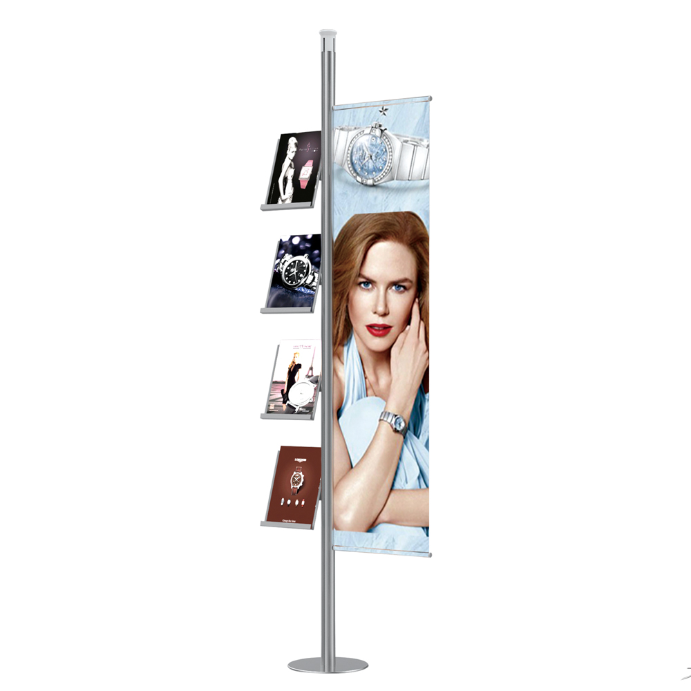 Portable Brochure and Poster Display Stand No Tool Assembly Modular Trade Display System