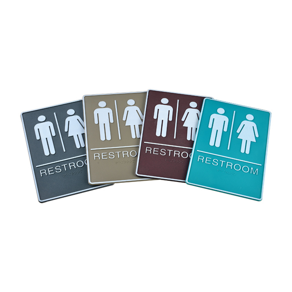 Male / Female, Toilet, Restroom Signs With Braille, ABS Plastic