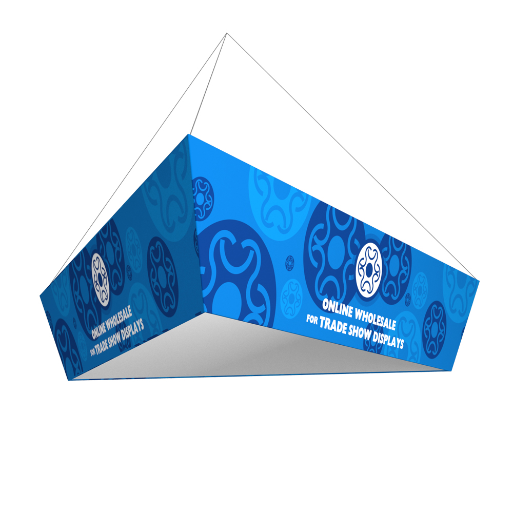 Tapered Triangle Tension Fabric Hanging Sign Tradeshow Display with Graphic