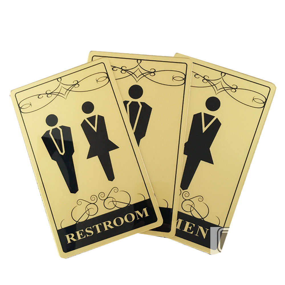 Male, Female, Male & Female, Toilet, Restroom Signs, Golden