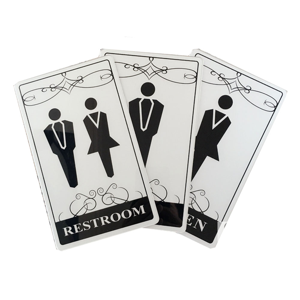 Male, Female, Male & Female, Toilet, Restroom Signs, Silver