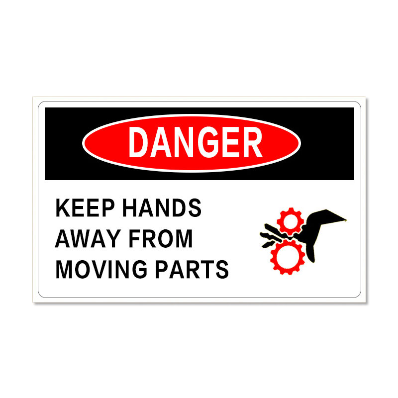 Waterproof Danger Sign-Keep Hands Away From Moving Parts, Safety Sticker 65x45mm