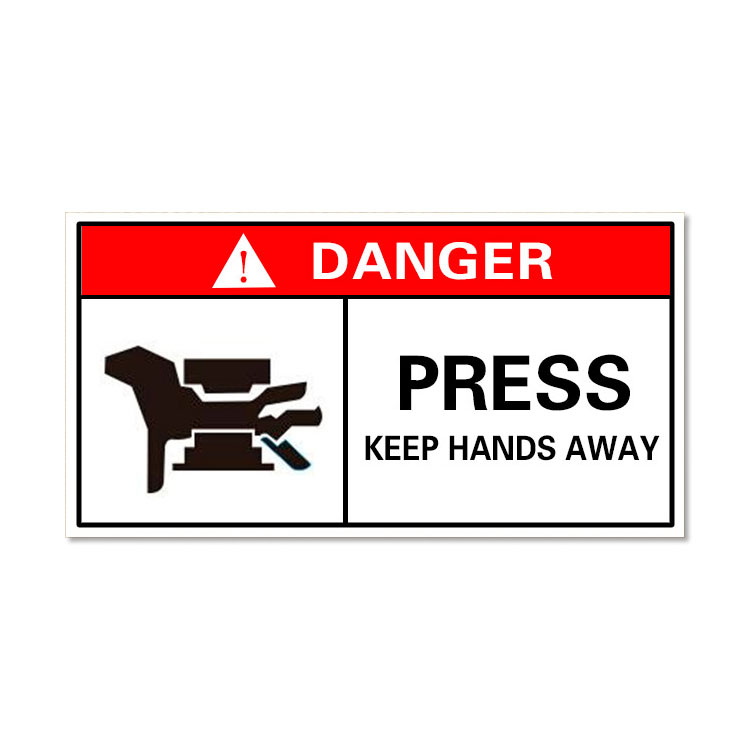 Waterproof Danger Sign-Press, Keep Hands Away, Safety Sticker 100x50mm