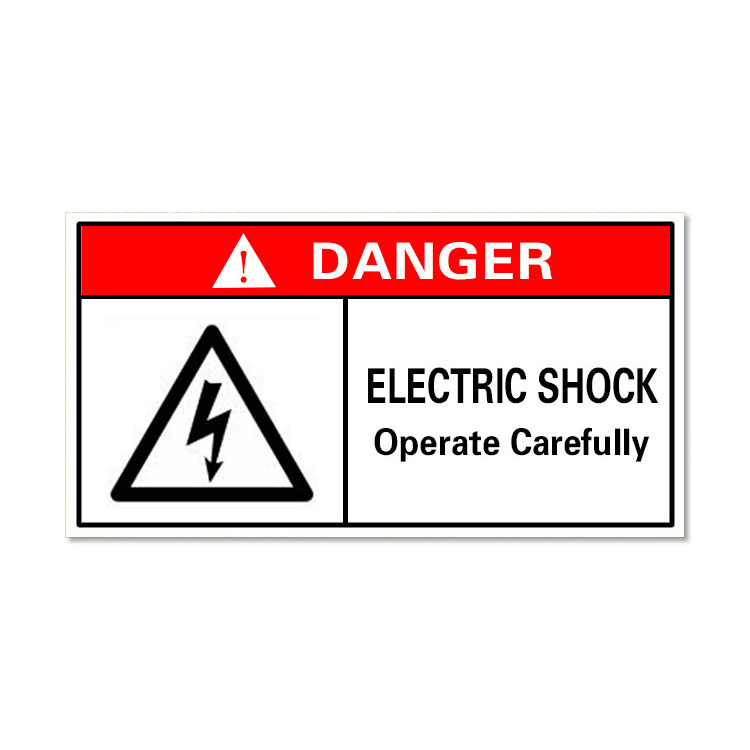 Waterproof Danger Sign-Electric Shock, Operate Carefully, Safety Sticker 60x40mm