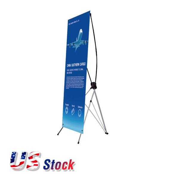 "US Stock-24""W x 63""H Economy Aluminum Foot Tripod X Banner Stand (Stand Only)"
