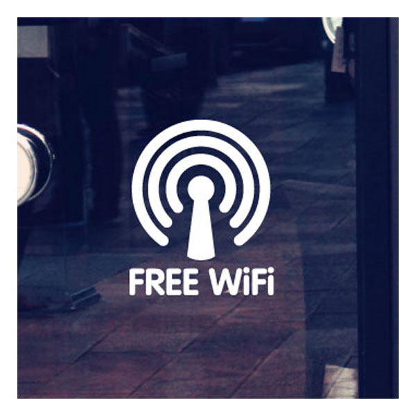 Free WIFI Decal Sticker, Outdoor Sign Window Door Wall (11cm x 13cm)