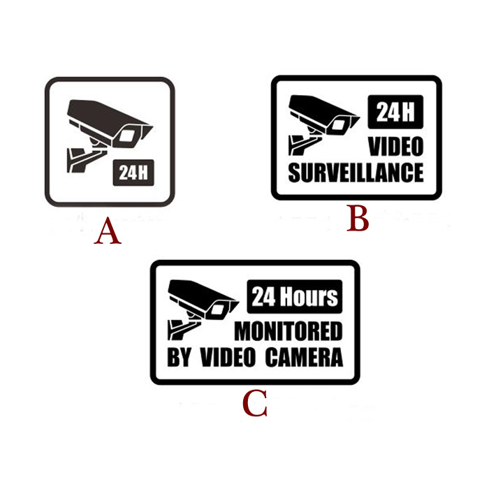 Video Surveillance Security Burglar Alarm Decal Warning Sticker Signs, C Style