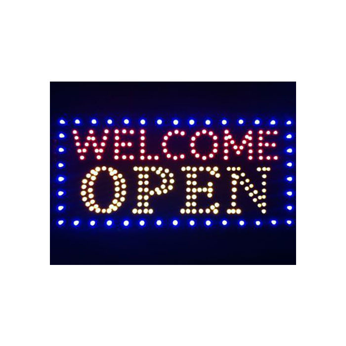 Animated LED Neon Light Open Sign Deluxe Welcome Open