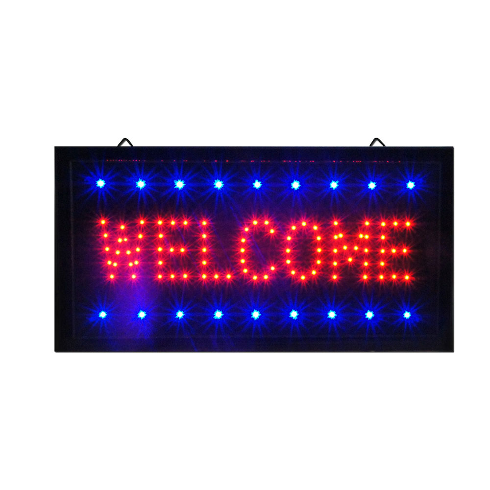 "Bright Animated LED Welcome Shop Store Bar Open Sign 19x10"" Display Light Neon"