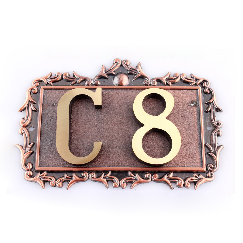 Custom House Office Apartment Number Sign Address Plaque Metal Copper (2 Letters or Numbers)