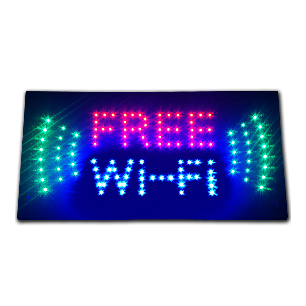 "LED Free Wi-Fi Store Business Signs 19""x10"""