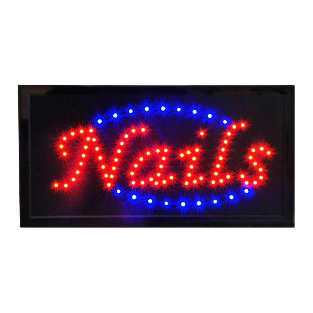 "Bright Animated LED Nails Manicure Pedicure Salon Spa Shop Store Signs 19"" x 10"""