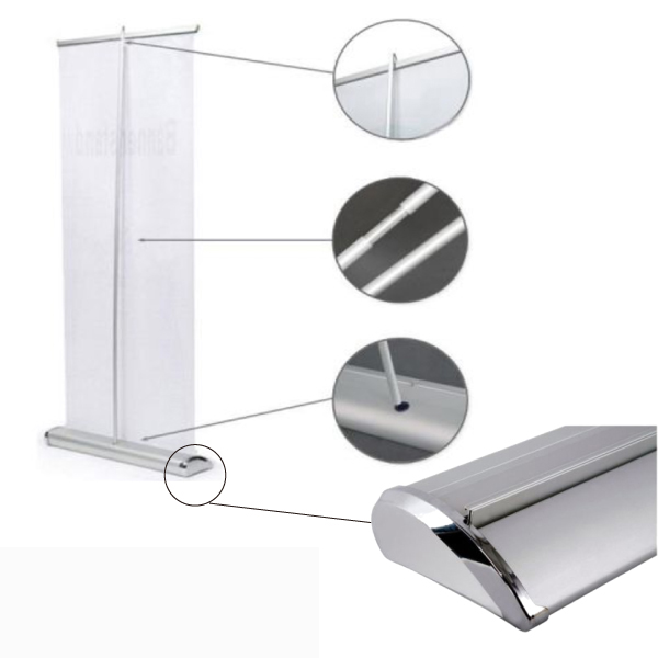 "US Stock-33""W x 79""H Upscale Silver Cap Broad Base Retractable/Roll Up Banner Stand (Stand Only)"