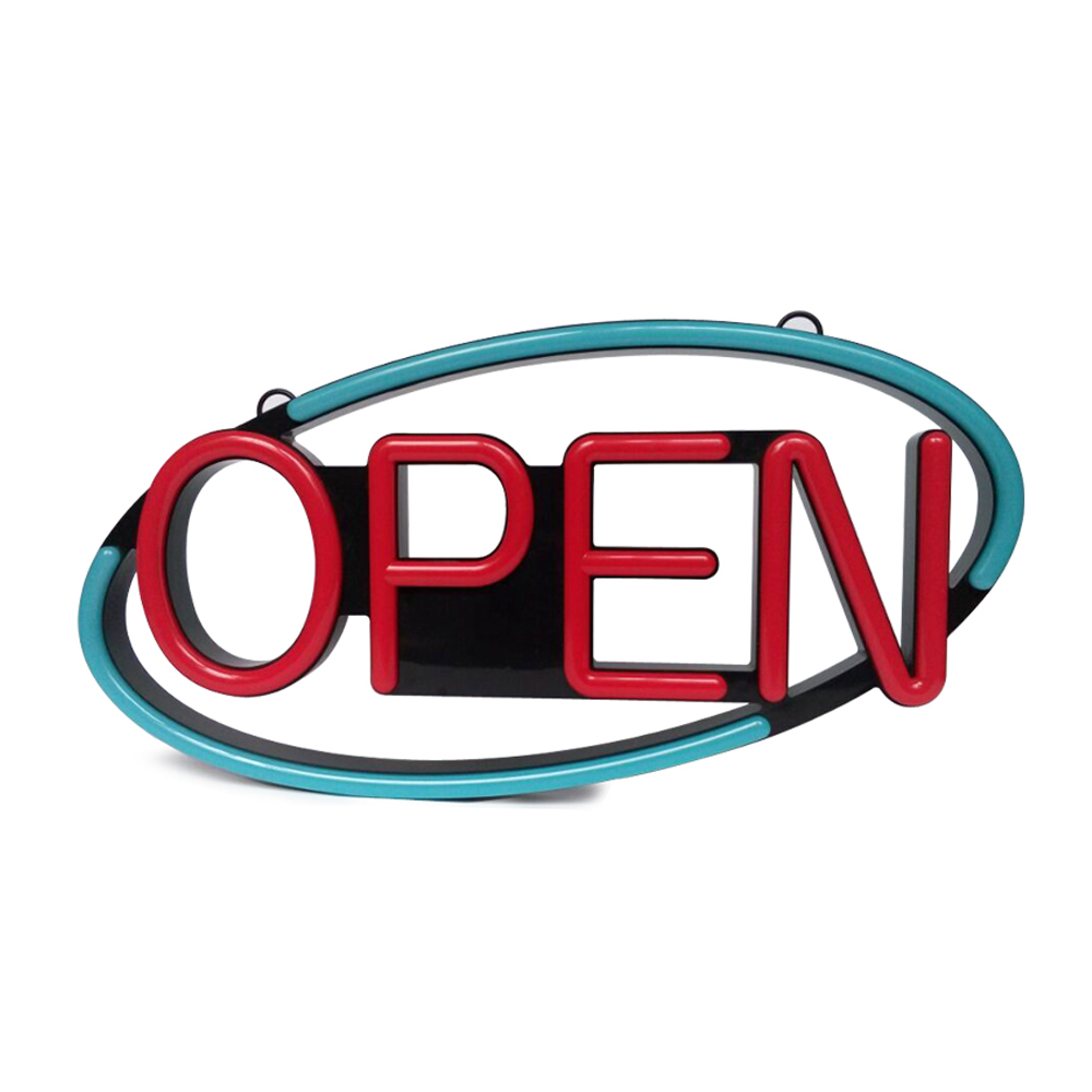 """OPEN"" Animated LED Sign with Hanging Chain, Oval - Red & Blue"