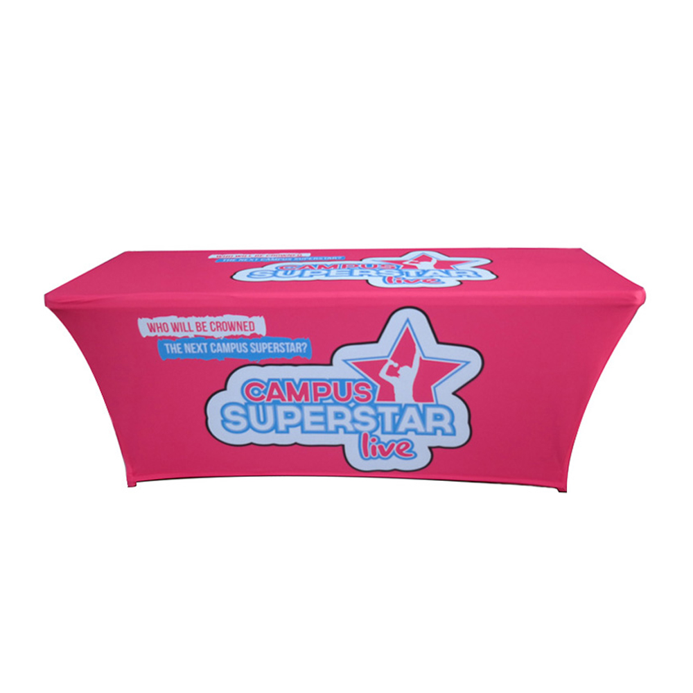 Professional High Quality Trade Show 6ft Spandex Stretch Table Throw with Custom Graphic