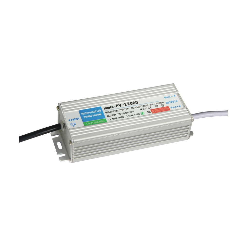 US Stock, Outdoor Waterproof Transformer Power Supply Adapter LED Light Driver AC-DC 12V 5A 60W