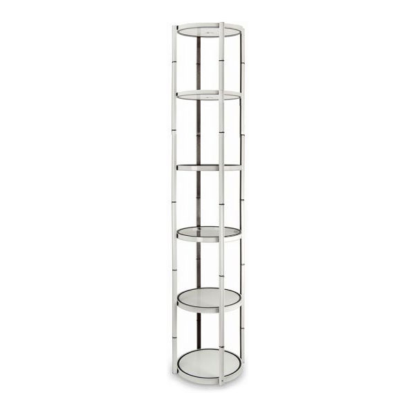 "US Stock, 80"" Round Portable Aluminum Spiral Tower Display Case with Shelves, Top light and Clear Panels"