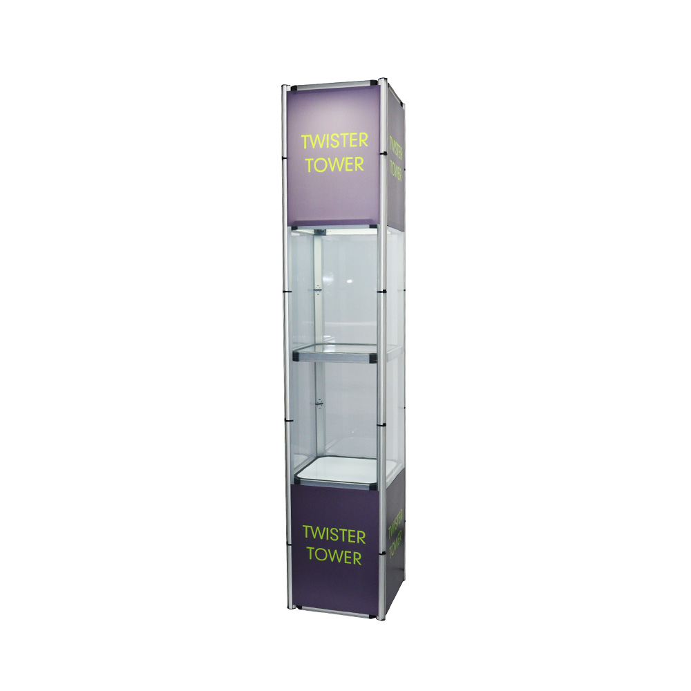 "Custom Graphic 81.1"" Square Portable Aluminum Spiral Tower Display Case with Shelves, Top light and Clear Panels"