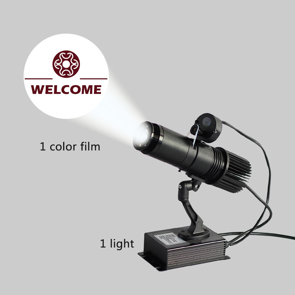 BEL Stock 20W Black Desktop or Mountable LED Gobo Projector Advertising Logo Light (with Custom 1 Color Rotating Glass Gobos)