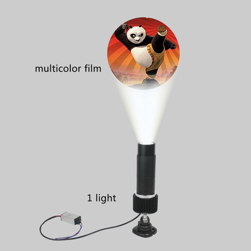 15W Outdoor Black Desktop or Mountable LED Gobo Projector Advertising Logo Light (with Custom Fullcolor Static Glass Gobos)