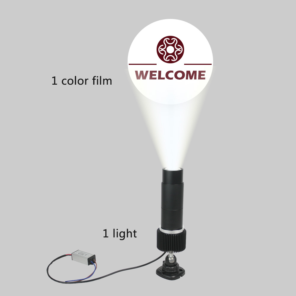 15W Outdoor Black Desktop or Mountable LED Gobo Projector Advertising Logo Light (with Custom 1 Color Static Glass Gobos)