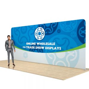 20ft Straight Back Wall Display with Custom Fabric Graphic (Graphic Included/Double Sided)