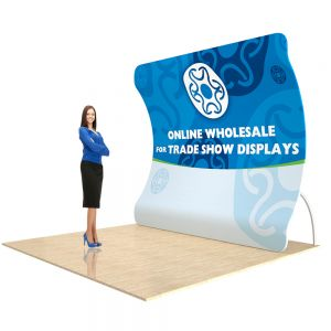 9ft Vertical Curved Back Wall Display with Custom Fabric Graphic