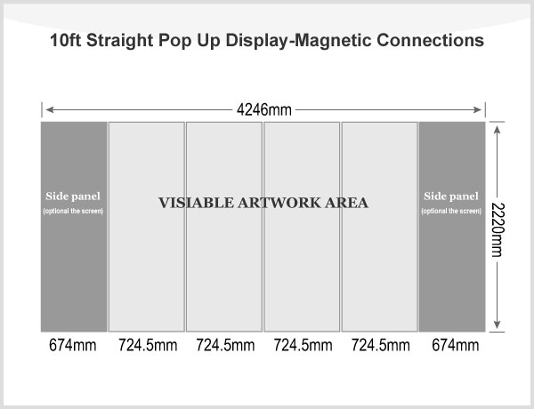10ft Straight Pop Up Display(Graphic included)-Magnetic Connections