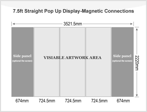 7.5ft Straight Pop Up Display(Graphic included)-Magnetic Connections