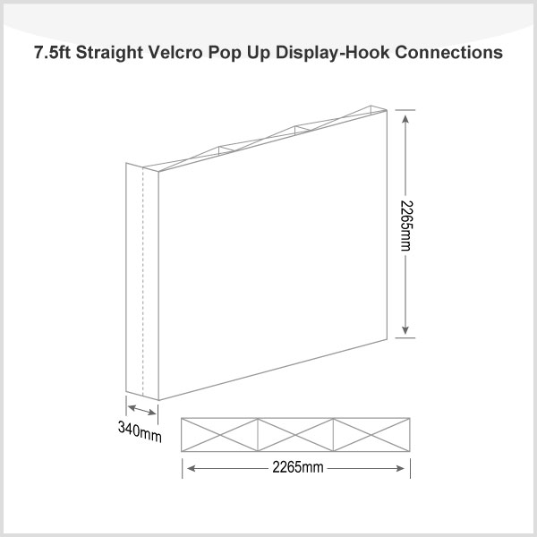 7.5ft Straight Velcro Pop Up Display(Graphic included)-Hook Connections