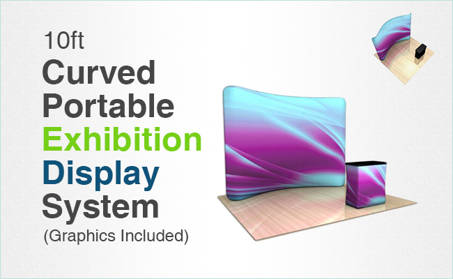10ft Curved Portable Exhibition Display System (Graphics Included)