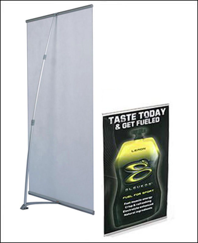 Iron Base L Banner Stand Application