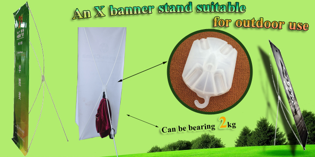 White Separable X Banner with Bearing Hook