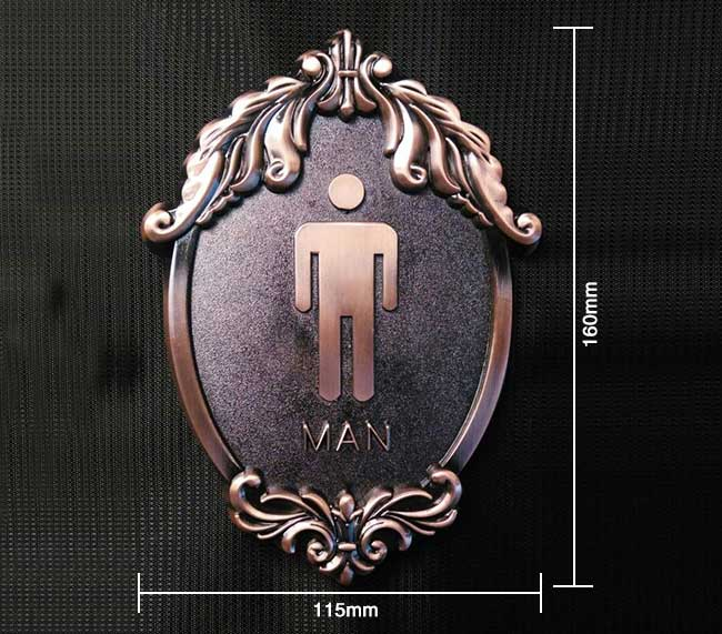 Antique-Style Male, Toilet, Restroom Signs