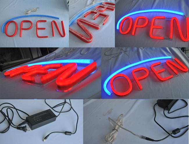 Oval LED Open Signs Neon Styles Large Letter Display Vivid Bright Color
