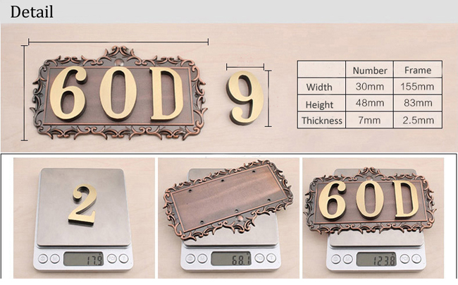 Custom House Office Apartment Number Sign Address Plaque Metal Copper