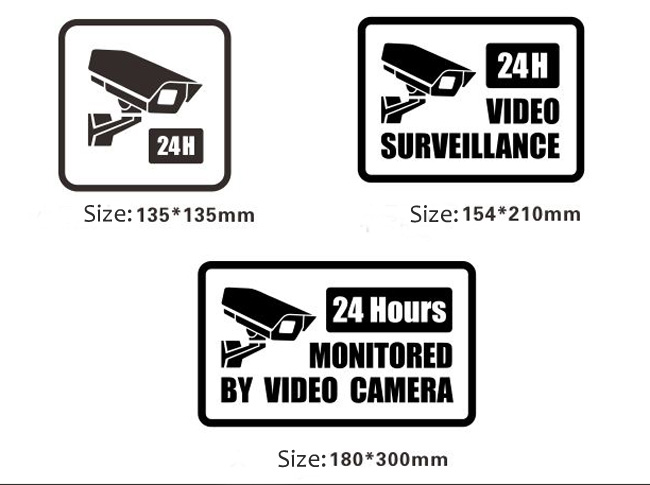 Video Surveillance Security Burglar Alarm Decal Warning Sticker Signs, A Style