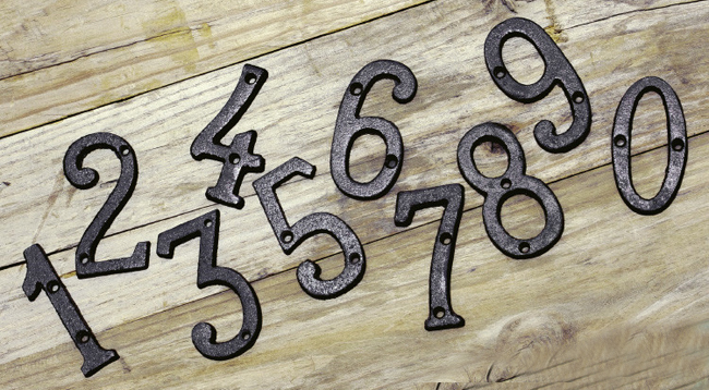 Cast Wrought Iron Black Antique House Door Alphabet Letters and Numbers